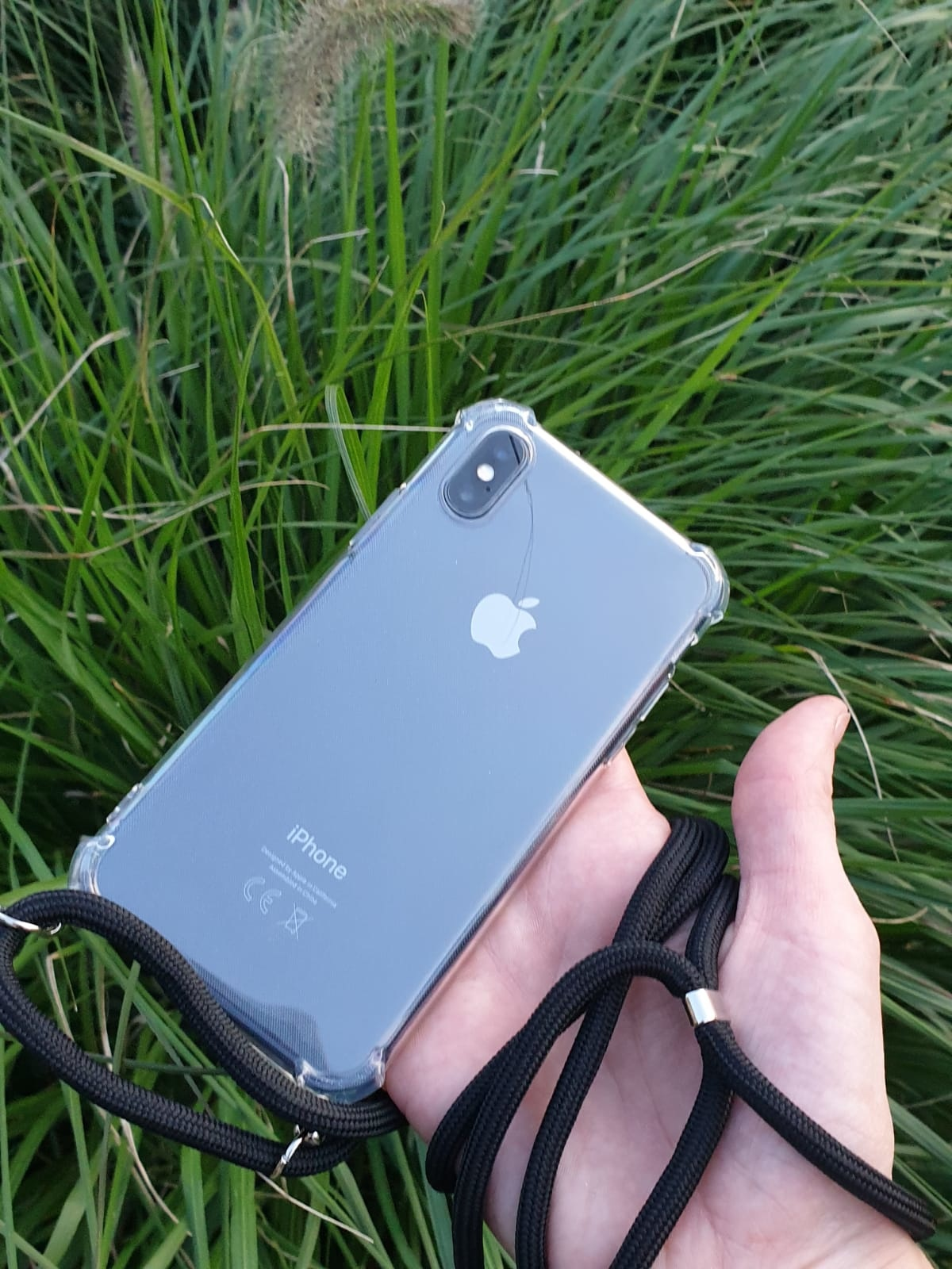 Transparant hoesje iPhone XS Max | Incl. zwart koord