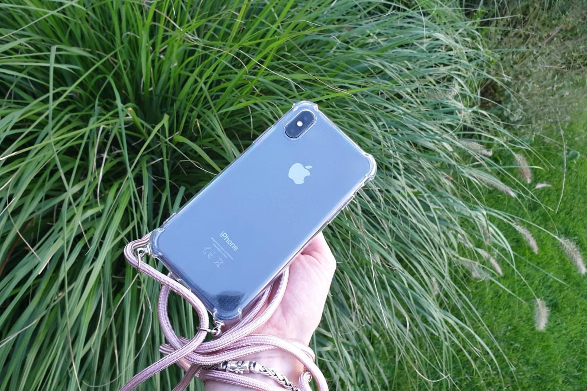 Transparant hoesje iPhone XR   Incl. roze koord