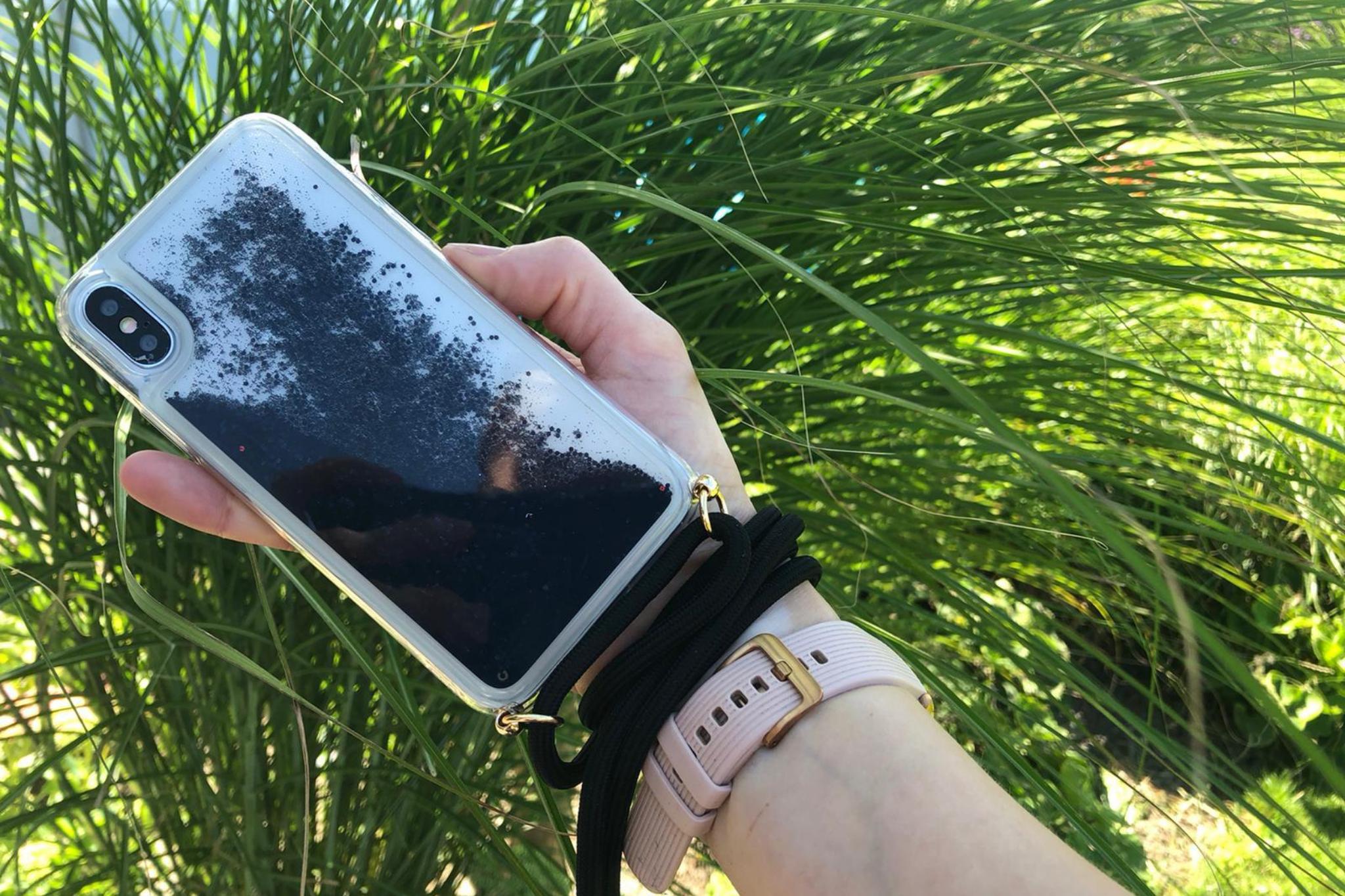 Smartphonehoesje iPhone 11 Pro Max   Koord en glitters   Zwart