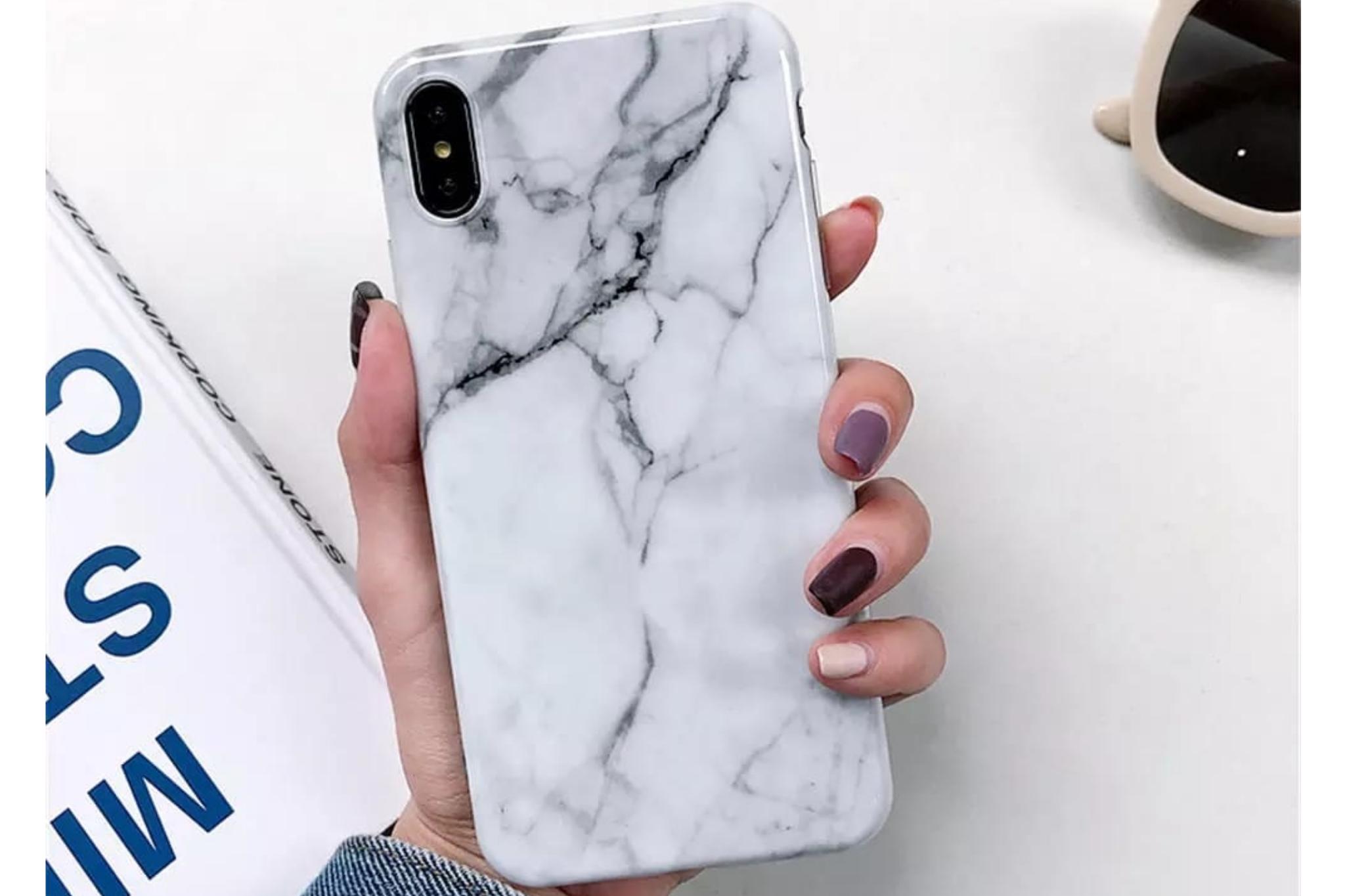 Smartphonehoesje iPhone 12 (pro)   Marmerlook wit/zwart
