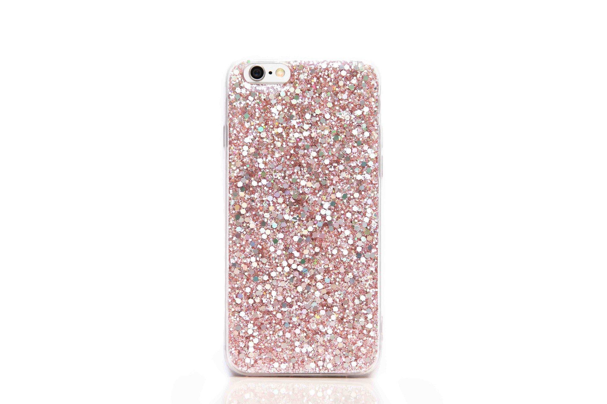 Smartphonehoesje iPhone 12 (pro) | Bling met roze glitters