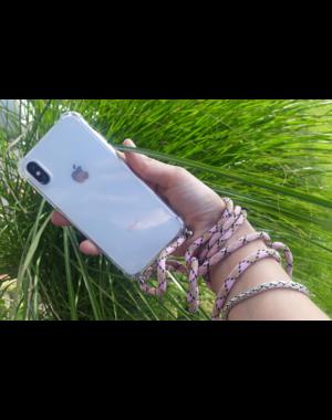 Transparant hoesje iPhone 12 mini | Incl. Roze + bruin koord