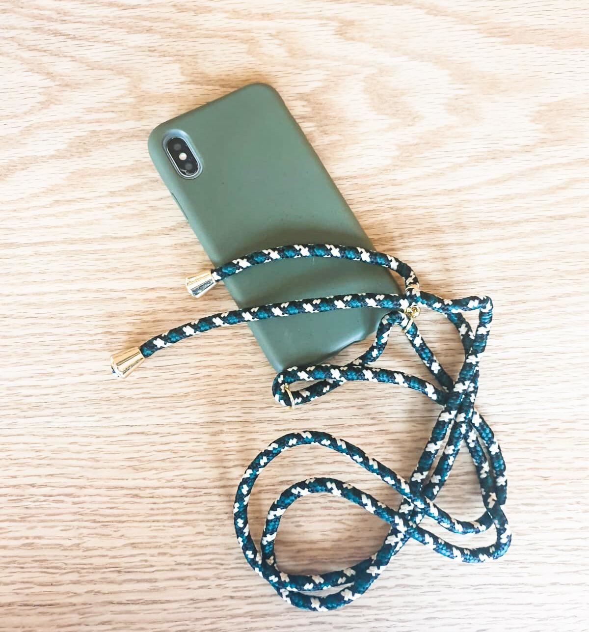 Smartphonehoesje iPhone 12 Mini | Mosgroen met koord