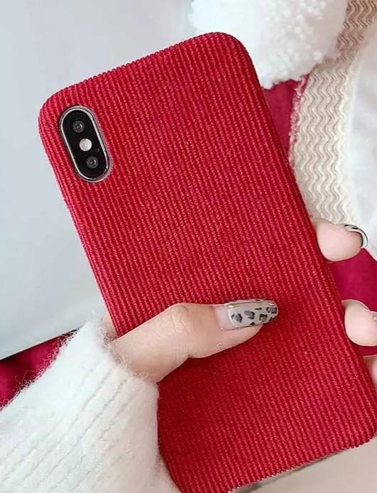 Ribstof telefoonhoesje iPhone X / XS | Diep roze