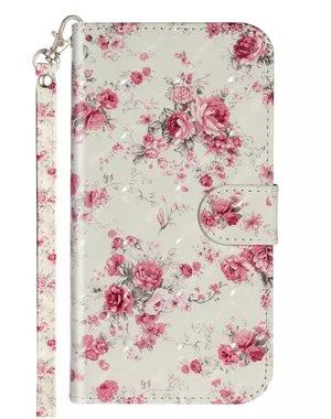 Smartphonehoesje Samsung A51 | Portemonnee (flipcase) - roze bloemen