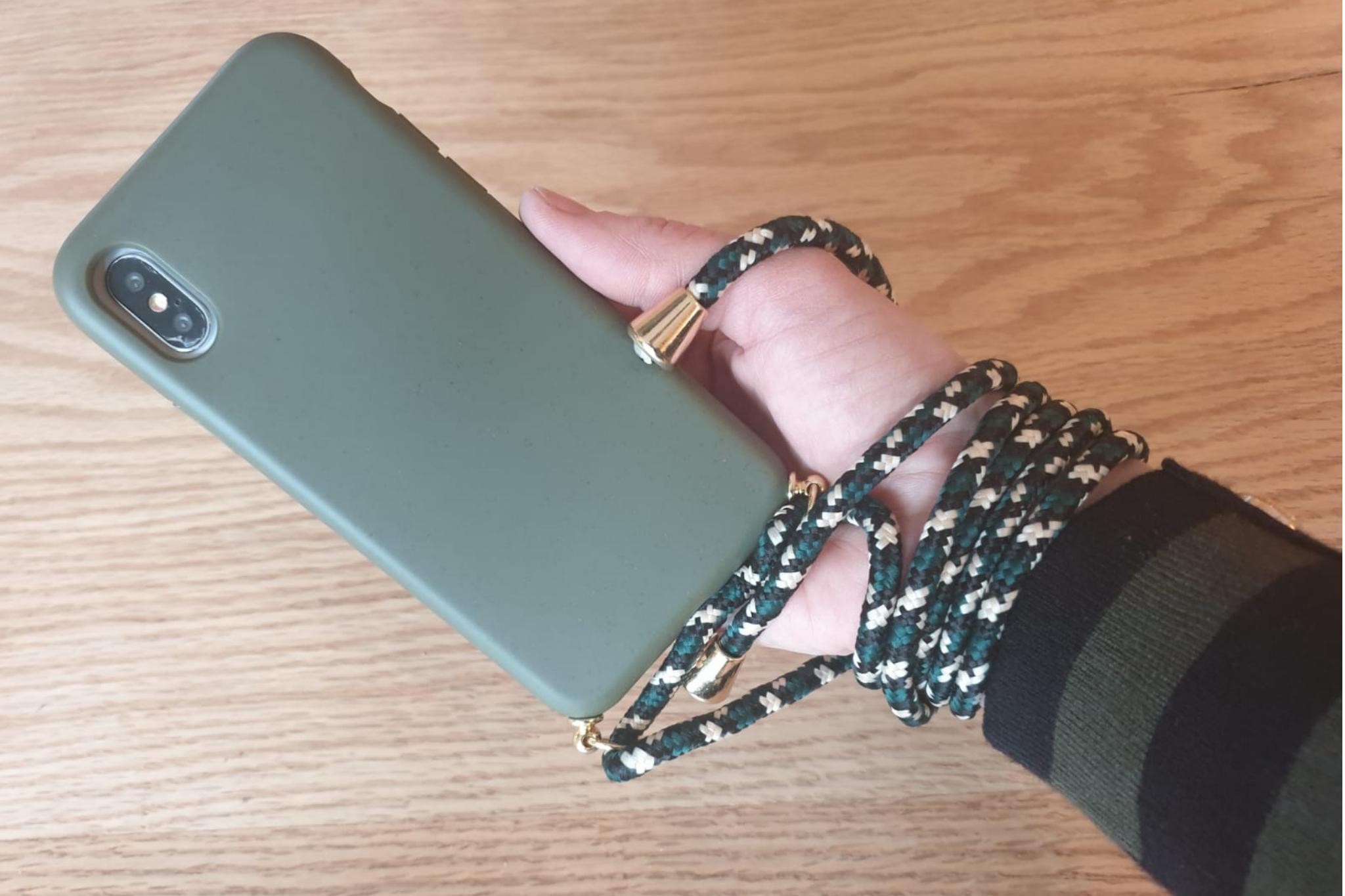 Smartphonehoesje iPhone 11 Pro Max | Mosgroen met koord