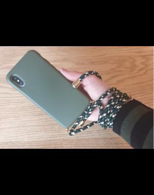 Transparant hoesje iPhone X / XS | Mosgroen met koord