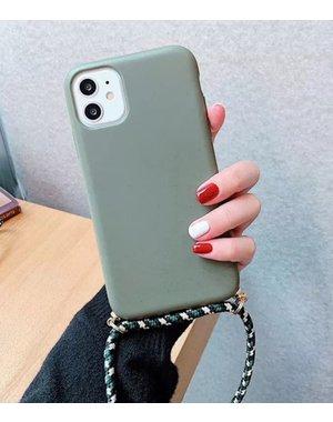 Smartphonehoesje iPhone 12 (Pro)   Mosgroen met koord