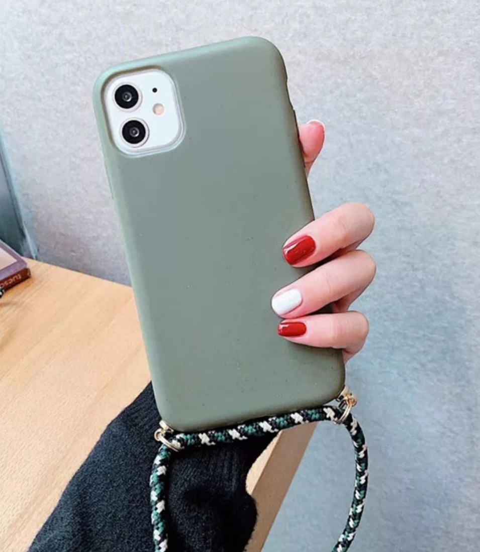 Smartphonehoesje iPhone 12 (Pro) | Mosgroen met koord
