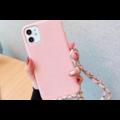 Smartphonehoesje iPhone XR | Zachtroze met koord