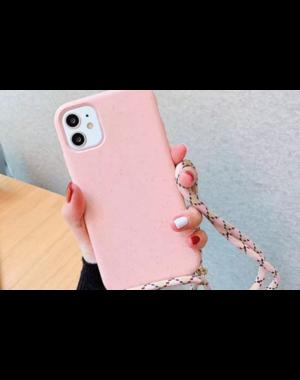 Smartphonehoesje iPhone 12 (Pro) | Zachtroze met koord