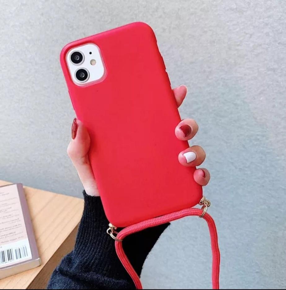 Smartphonehoesje iPhone 12 (Pro) | Rood met koord