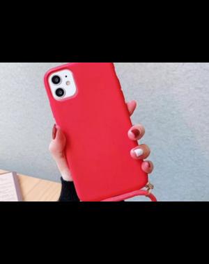 Smartphonehoesje iPhone 12 (Pro)   Rood met koord