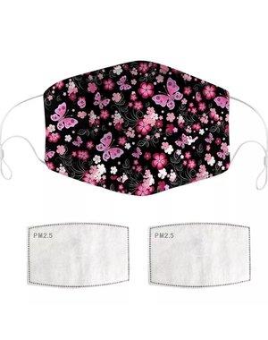 Mondkapje met vlinders   roze