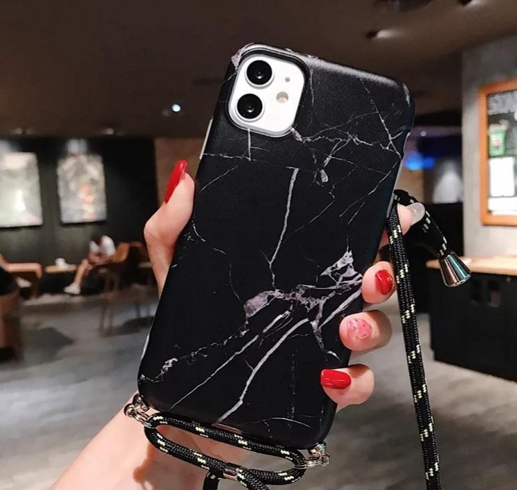 Marmerlook hoesje iPhone X / XS | Zwart | Incl. koord