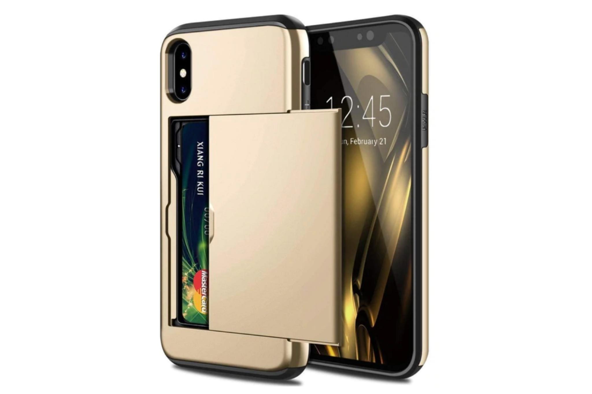 Smartphonehoesje iPhone 12 Pro Max   Pasjesschuif goud