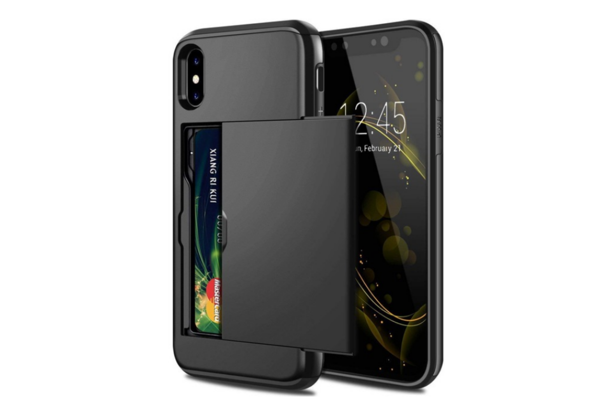 Smartphonehoesje iPhone 12 (Pro) | Pasjesschuif zwart