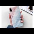 Smartphonehoesje iPhone 11 | Marmerlook | blauw | roze