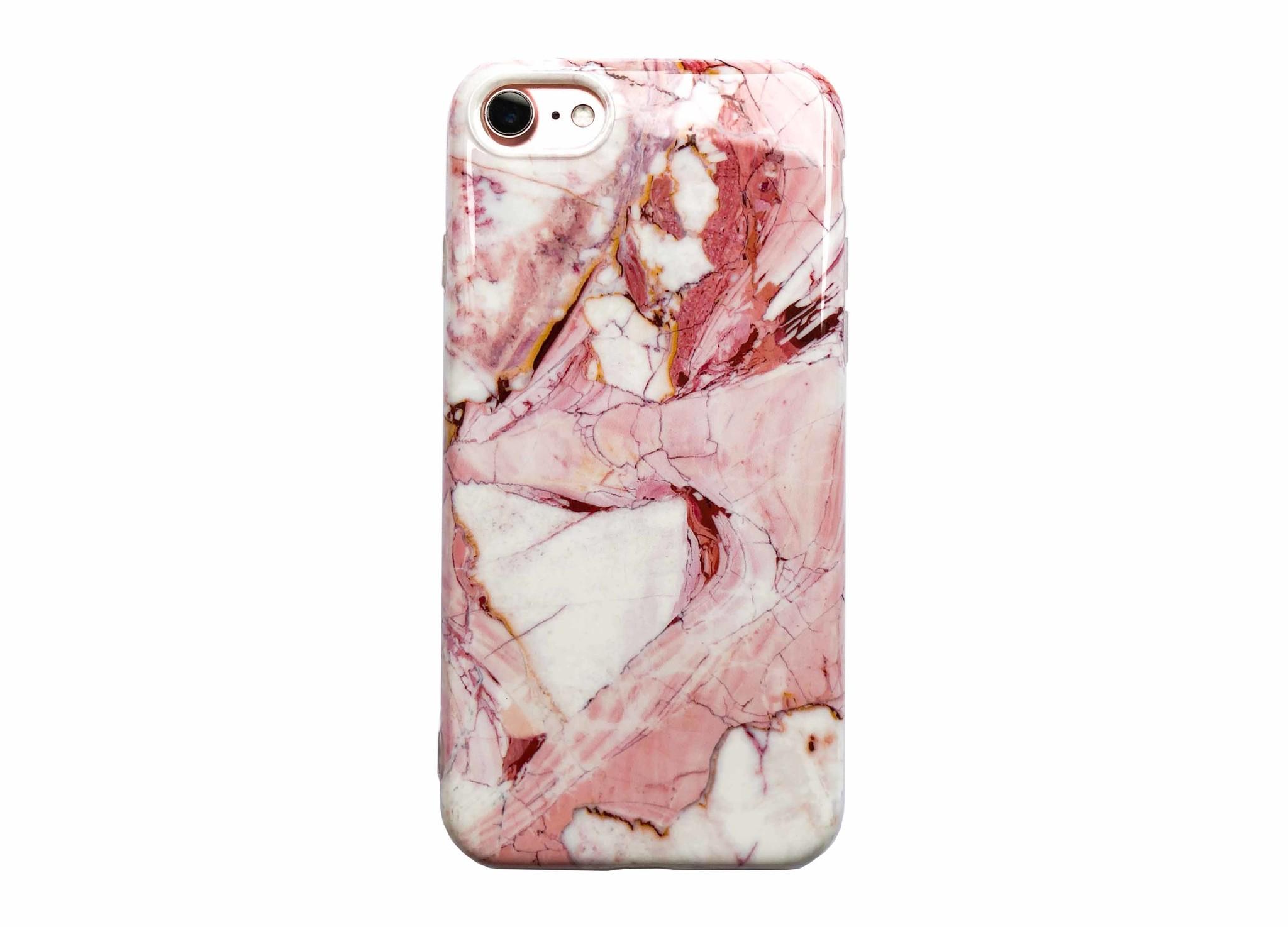 Smartphonehoesje iPhone 12 (pro) | Marmerlook | Wit met Roze