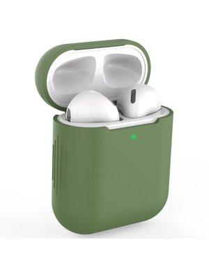 AirPods hoesje / case | Siliconen | Effen | Mosgroen