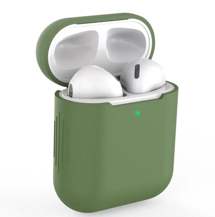 AirPods hoesje / case | Effen |Siliconen | Mosgroen