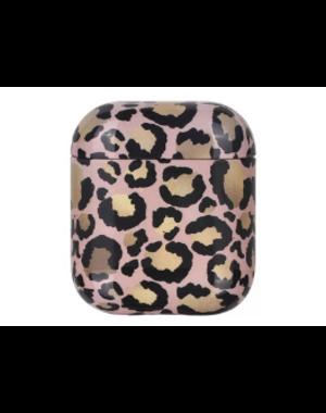 AirPods hoesje / case | Panterprint roze/bruin