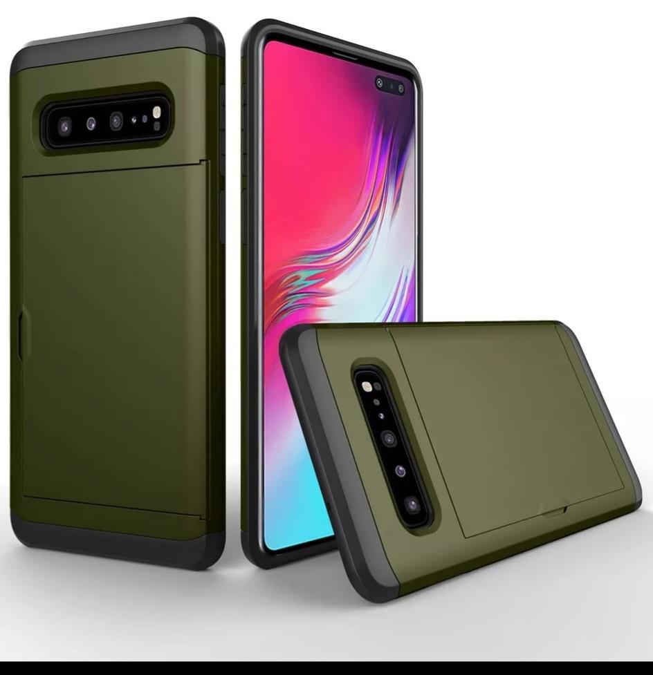 Smartphonehoesje Samsung S10   Plus   Pasjesschuif   Chique groen