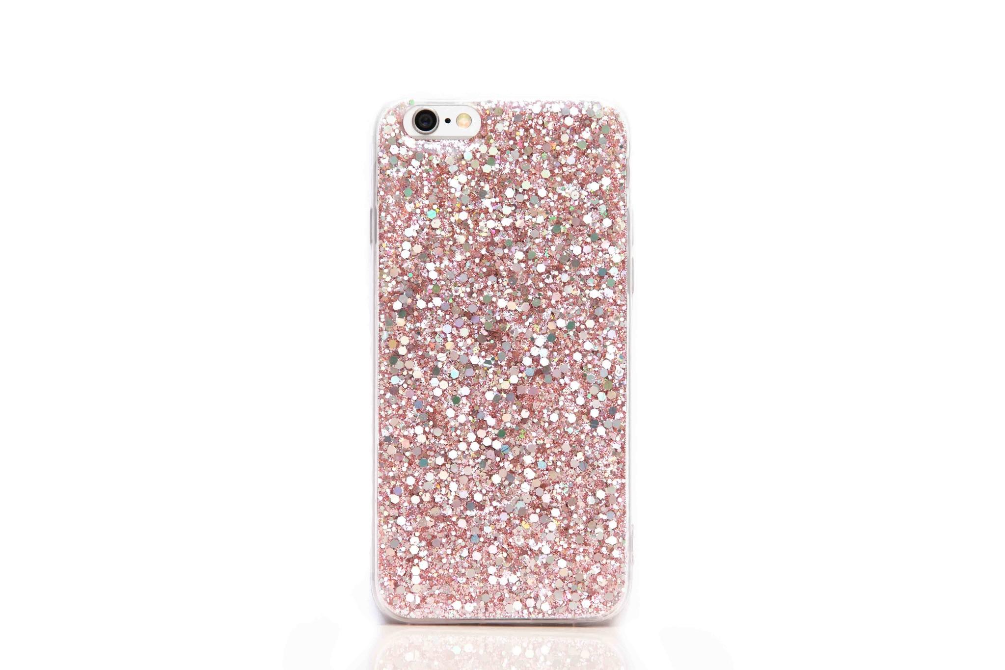 Smartphonehoesje Samsung S21 Plus | Bling met roze glitters