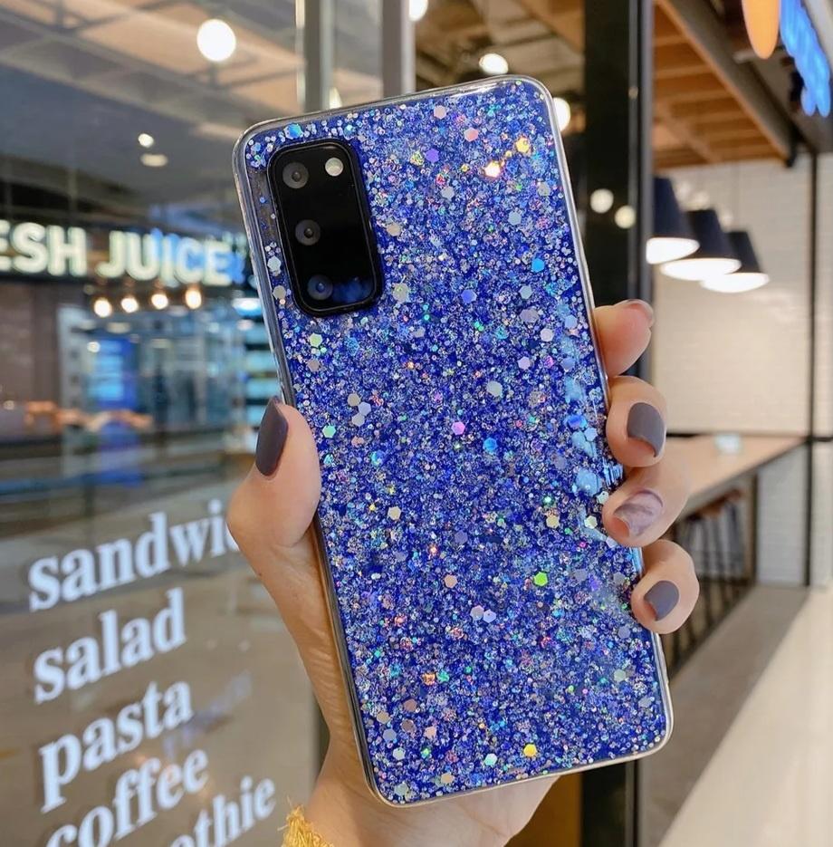 Smartphonehoesje Samsung A71 | Bling met blauwe glitters