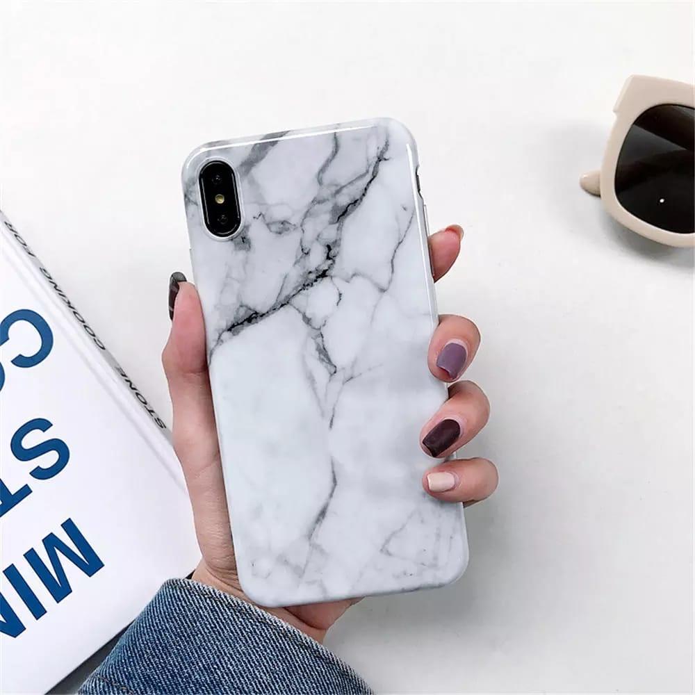 Smartphonehoesje Samsung A50 | Marmerlook | Wit