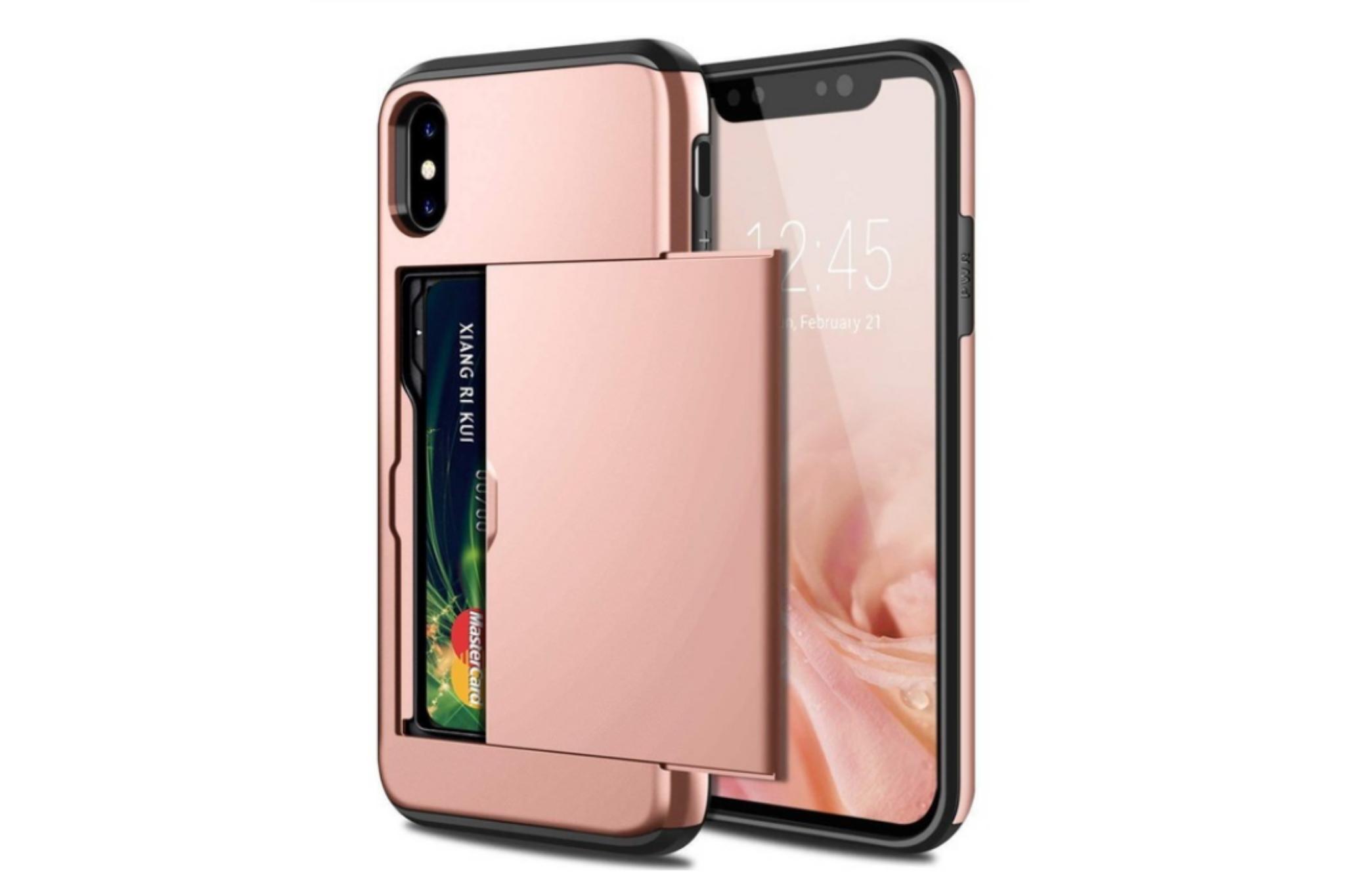 Smartphonehoesje iPhone 12 (Pro) | Pasjesschuif | Rose gold