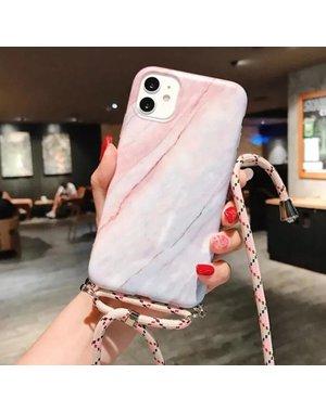 Marmerlook hoesje iPhone 11 Roze   Blauw   Incl. koord