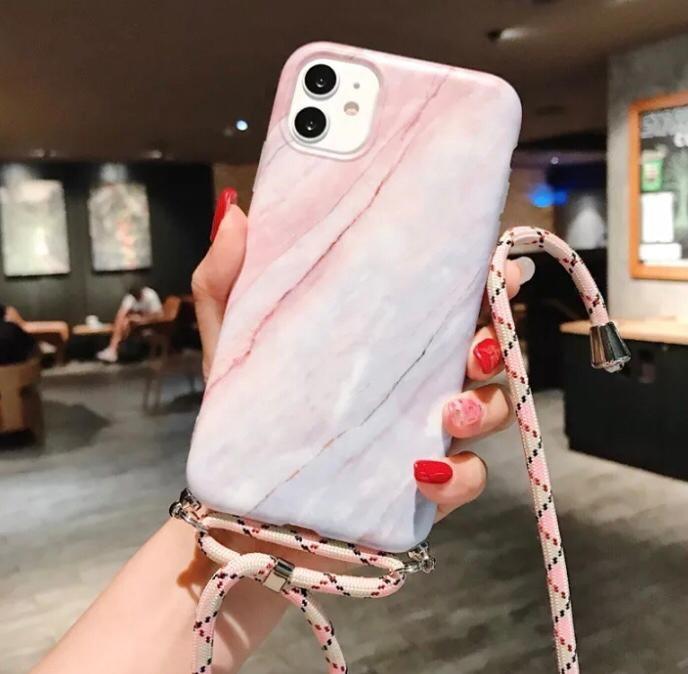 Marmerlook hoesje iPhone 7/8   Incl. koord   Roze   Blauw