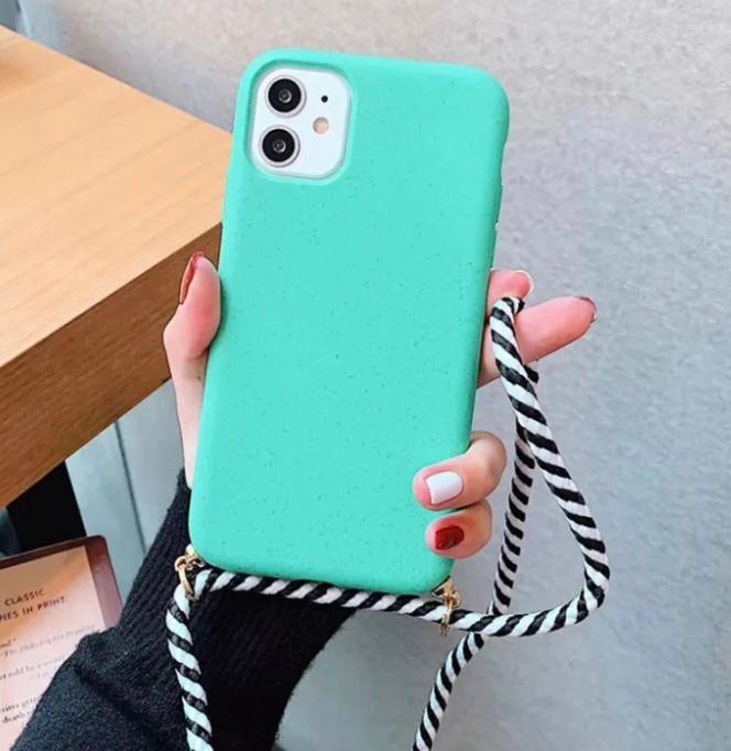 Smartphonehoesje iPhone 11 | Mintgroen met koord