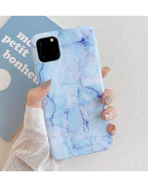 Smartphonehoesje iPhone 12 (pro) | Marmerlook | Blauw