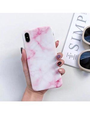 Smartphonehoesje iPhone 12 (pro) | Marmerlook | Roze