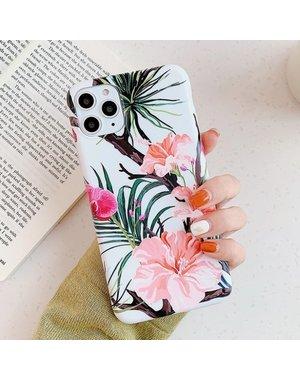 Smartphonehoesje iPhone 12 ( Pro)   Summervibes   Wit   Roze