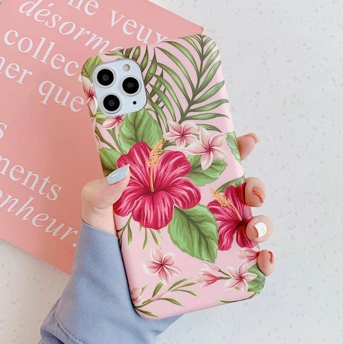 Smartphonehoesje iPhone 12 ( Pro) | Summervibes met bloemenprint | Roze