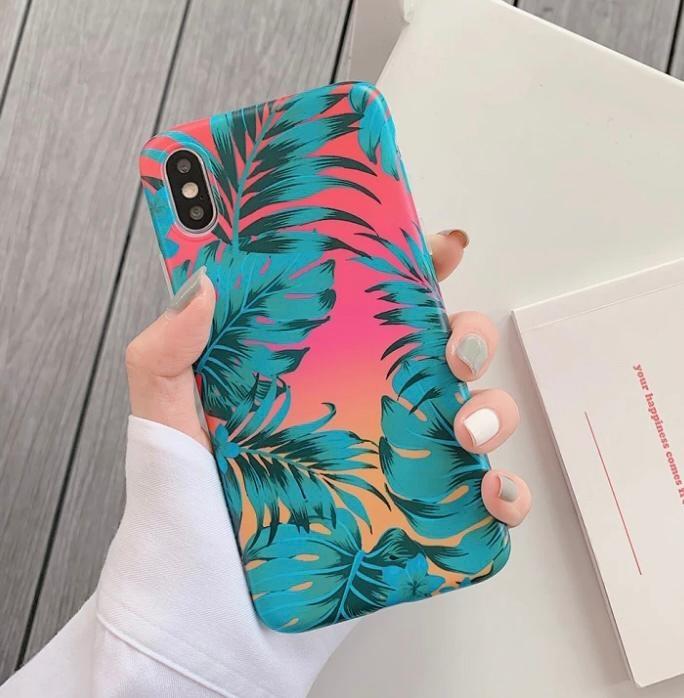 Smartphonehoesje iPhone X   iPhone XS   Summervibes met bladprint   Groen