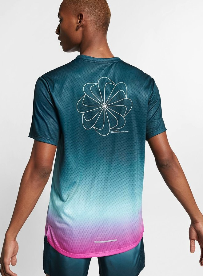 Running top with short sleeves and print for men