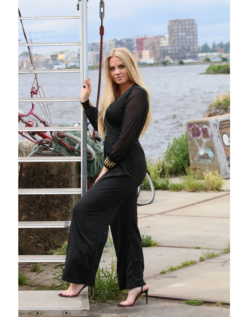 Zwarte jumpsuit studs mouw