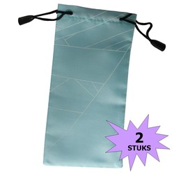 Fako Bijoux® - Microvezel Brillenhoes - Brick - 18x9cm - Lichtblauw - 2 Stuks