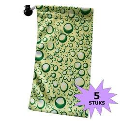 Fako Bijoux® - Microvezel Brillenhoes - Druppels - 18x9cm - Groen - 5 Stuks