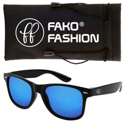 Fako Fashion® - Zonnebril - Wayfarer - Zwart - Blauw Spiegel