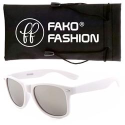 Fako Fashion® - Zonnebril - Wayfarer - Wit - Zilver Spiegel