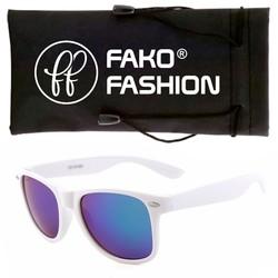 Fako Fashion® - Zonnebril - Wayfarer - Wit - Paars/Blauw Spiegel