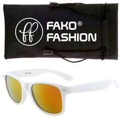 Fako Fashion® - Zonnebril - Wayfarer - Wit - Goud/Rood Spiegel