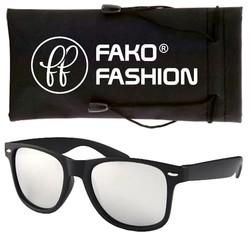 Fako Fashion® - Zonnebril - Wayfarer - Zwart - Spiegel Zilver