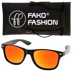 Fako Fashion® - Zonnebril - Wayfarer - Zwart - Spiegel Goud/Rood