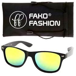 Fako Fashion® - Zonnebril - Wayfarer - Zwart - Spiegel Goud